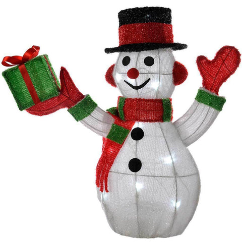 Pre-Lit Tinsel Snowman with 10 LED Lights Christmas Decoration, 45 cm