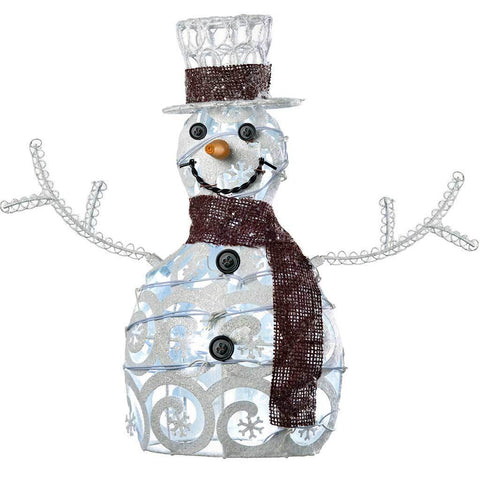 35 cm Metal Snowman with 15-LED Lights Christmas Decoration, White