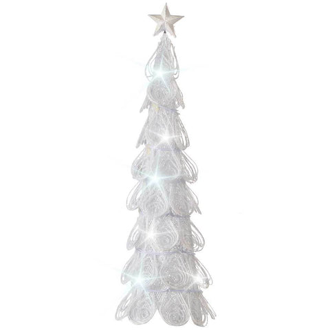 46 cm Metal Christmas Tree with 10 LED Lights Decoration, White