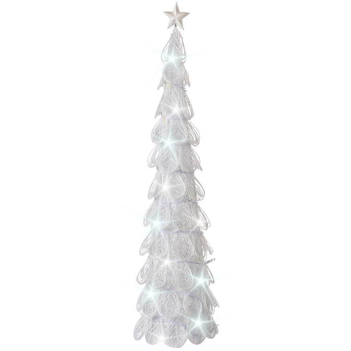 70 cm Metal Christmas Tree with 20-LED Lights Decoration, White