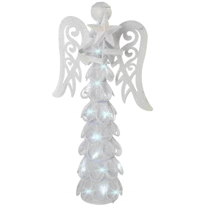 46 cm Metal Angel with 10 LED Lights Decoration, White