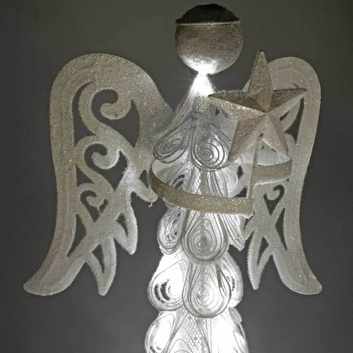 Metal Angel with 20-LED Lights Decoration, 60 cm - White