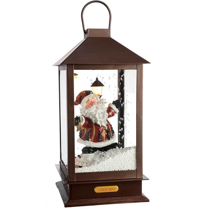 38 cm Pre-Lit Snowing Santa Lantern with LED Lights Christmas Decoration