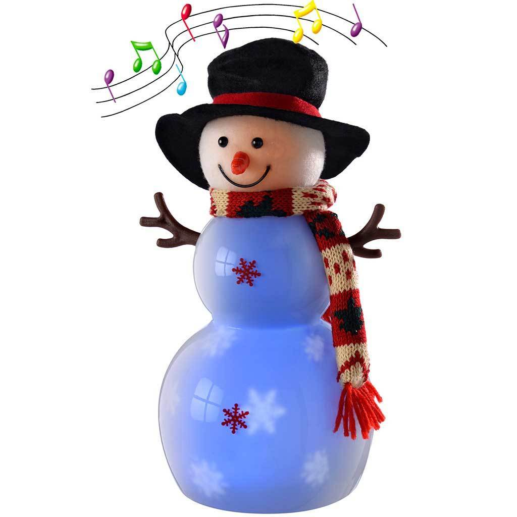 Pre-Lit Light Up and Music Snowing Snowman with Hat Scarf and LED Lights, 33 cm