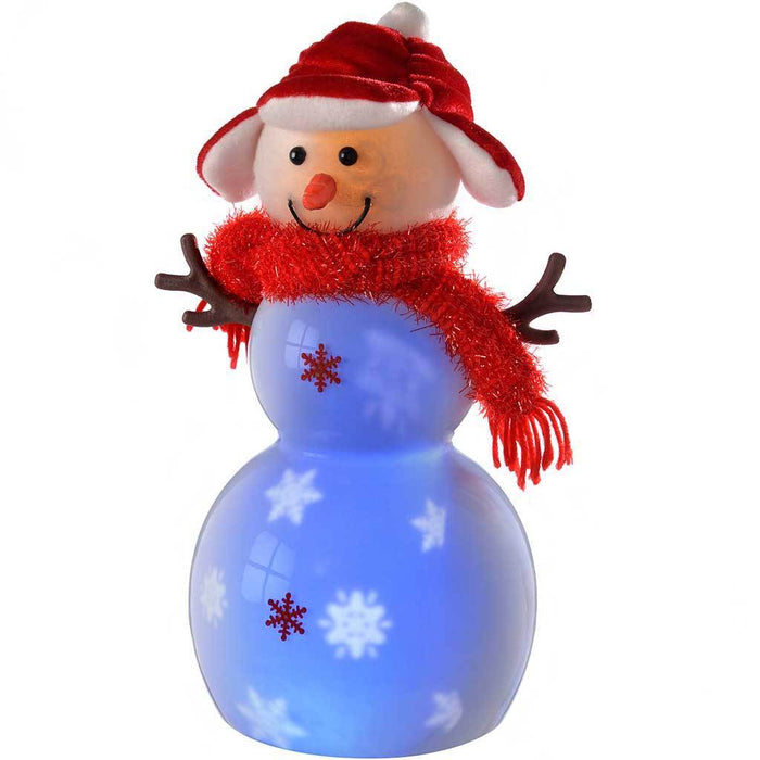 Pre-Lit Light Up and Music Snowing Snowman with Hat Scarf and LED Lights, 29 cm - Red
