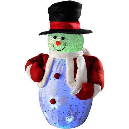 45 cm Pre-Lit Light Up and Music Snowman with Colour Changing LED Lights