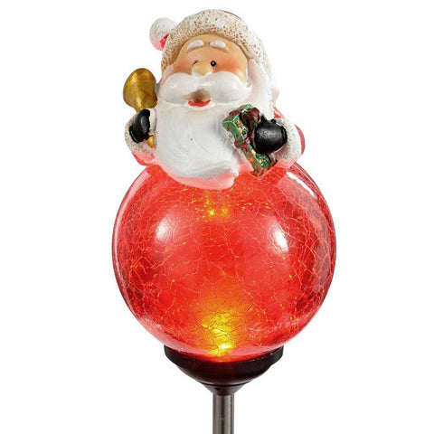 75 cm Santa Solar Light with Cracked Effect Glass Ball