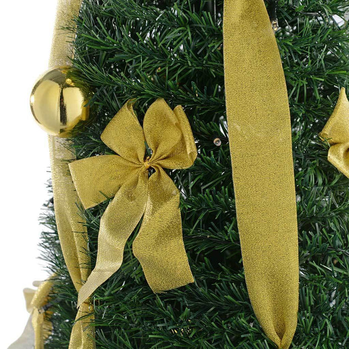 Pre-Lit Pop Up Christmas Tree with Ribbon and Bauble Decorations, 6 ft/1.8 m - Green/Red/Gold
