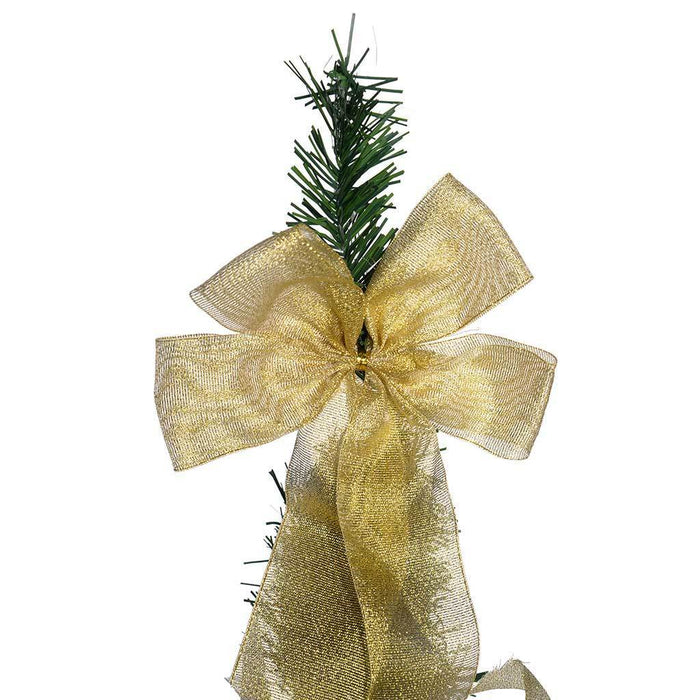 Pre-Lit Pop Up Christmas Tree with Ribbon and Bauble Decorations, Green/ Gold 5 ft/1.5 m