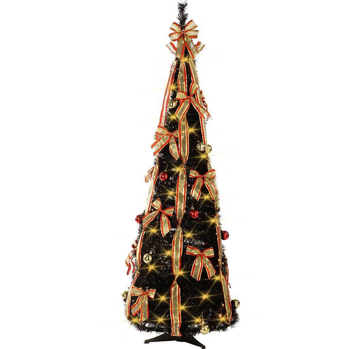 5 Ft Pre-Lit Pop Up Christmas Tree With Ribbon And Bauble