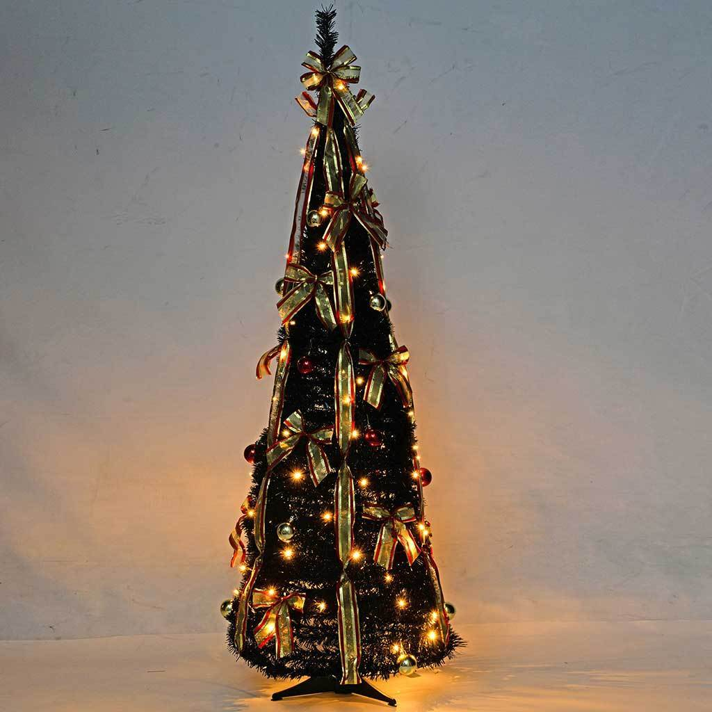 5 ft Pre-Lit Pop Up Christmas Tree with Ribbon and Bauble Decorations, Black/ Red/ Gold