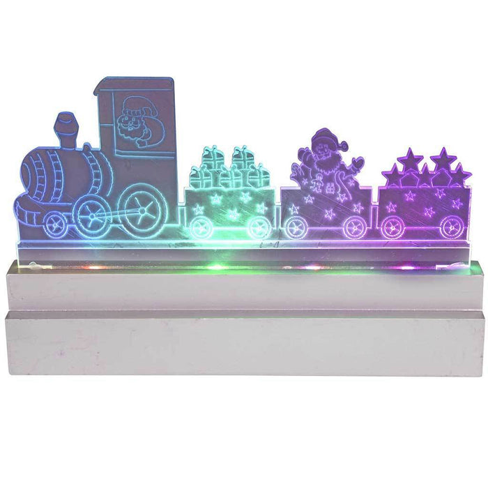 Pre-Lit Acrylic Santa Train, Table/Window Decoration with Colour Changing LED Lights, 22 cm