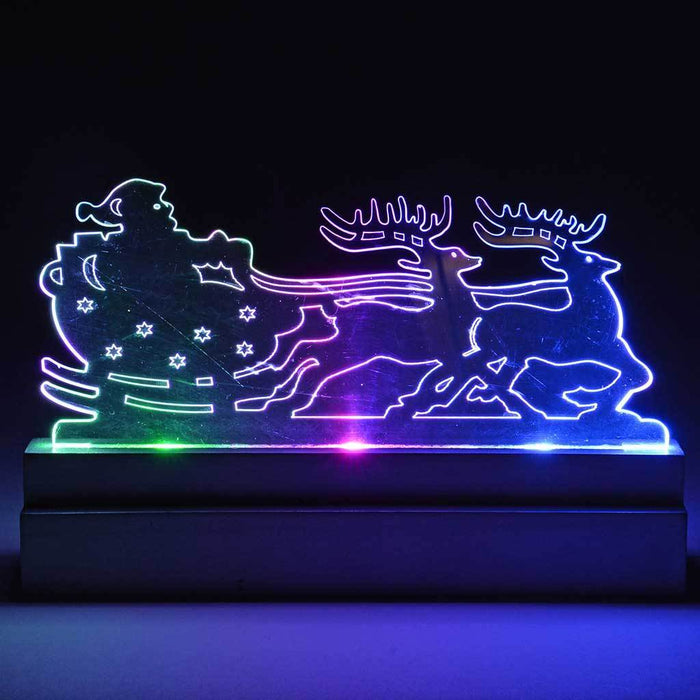 Pre-Lit Acrylic Santa in Sleigh and Reindeer Table/Window Decoration with Colour Changing LED Lights, 22 cm