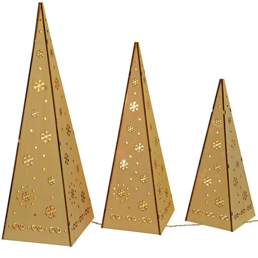 Wooden Pyramid Christmas Trees with Warm White LED Lights Decoration, Set of 3