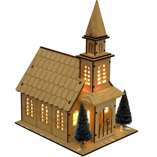 20 cm Pre-Lit Wooden Christmas Church Scene Decoration with Warm White LED