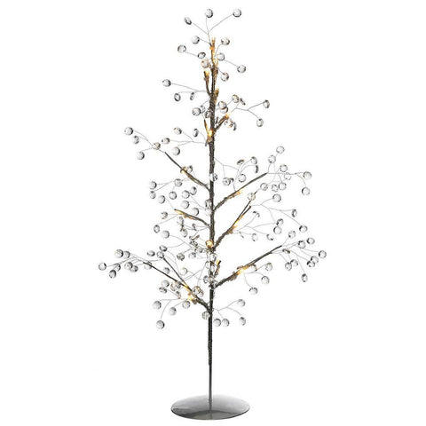Beaded Christmas Decoration Tree with 15 Warm White LED Lights, 2 ft