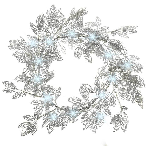 60 cm Pre-Lit Wreath with 48 White LED Lights Christmas Decoration, Silver Leaf