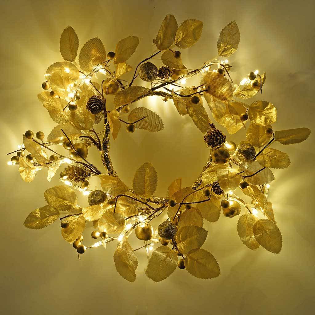 45 cm Pre-Lit Leaf and Berries Wreath with 45 LED Lights Christmas Decoration, Gold/ Warm White