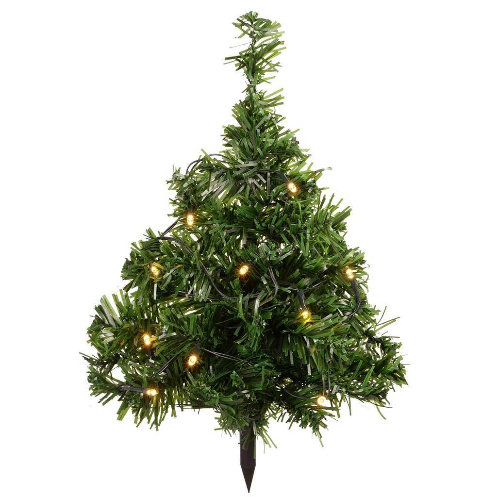 35 cm solar powered mini christmas trees with 10 warm white led lights set of - Solar Powered Christmas Tree