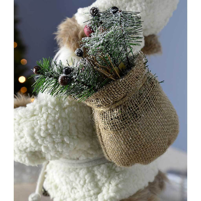 30 cm Standing Santa with Gift Sack in a Fur Outfit Decoration, White/ Brown