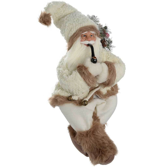 60 cm Sitting Santa with a Pipe in a Fur Outfit Decoration, White/ Brown