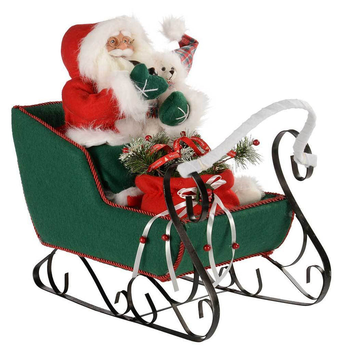60 cm Santa Sleigh in a Outfit Decoration, Red/ Green | WeRChristmas