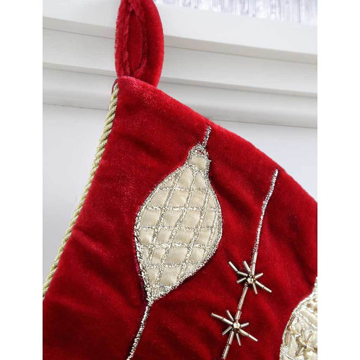 42 cm Stocking with Embroidery Christmas Decoration, Red/ Gold