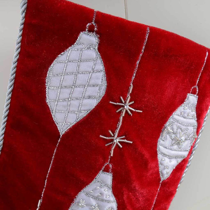 46 cm Stocking with Embroidery Christmas Decoration, Red/ Silver