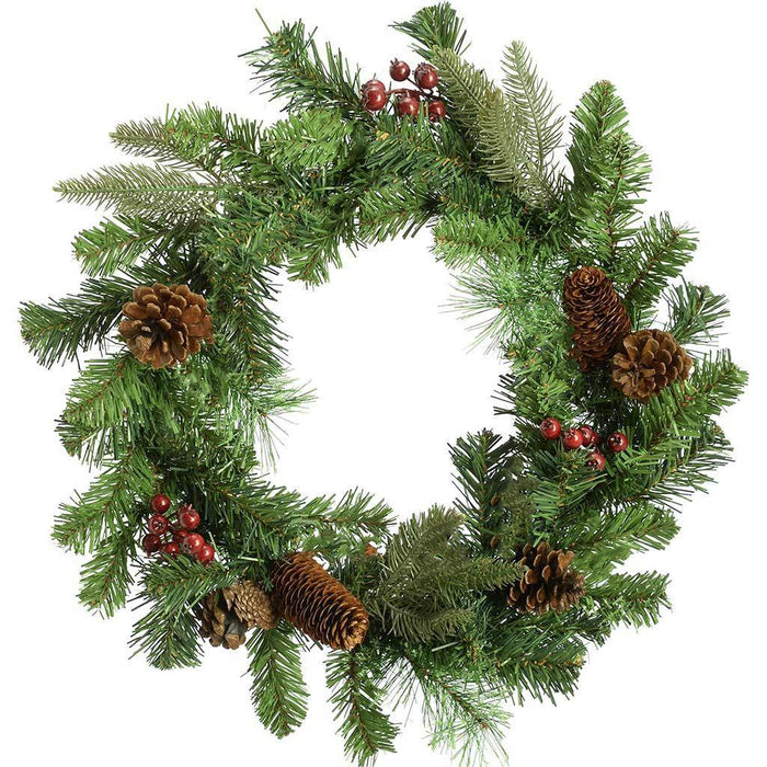 45 cm Natural Cones and Berries Decorated Wreath Christmas Decoration