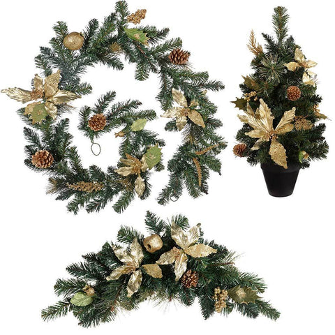 6 ft Garland Arch Swag and Potted Tree Christmas Decoration, Cream Gold
