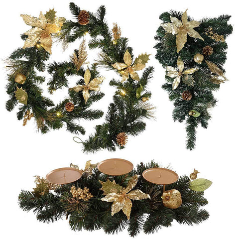 Deocration Pack with Pre-Lit 6ft Garland, Tear Drop and Candle Holder, Gold