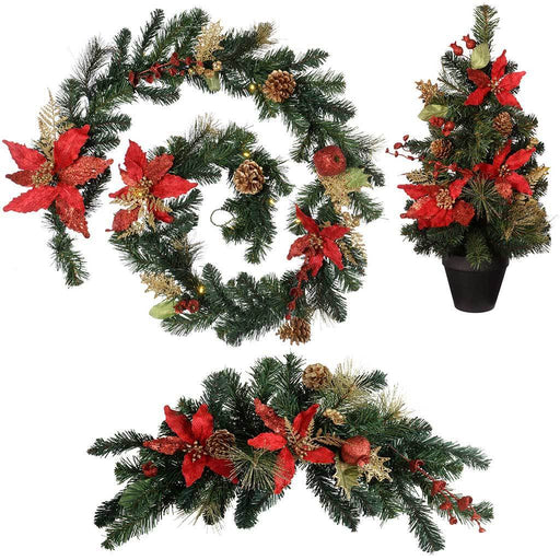 Decoration Pack with 6 ft Garland and 2 ft Christmas Tree Arch Swag, Red/Gold