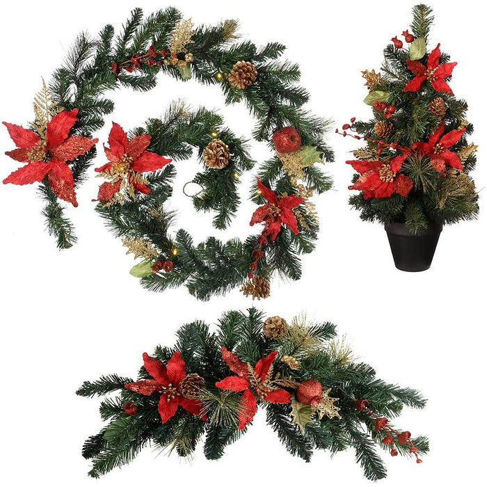 Decoration Pack with 6 ft Garland and 2 ft Christmas Tree Arch Swag, Red/Gold | WeRChristmas