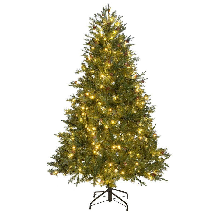 Mixed Christmas Tree with 400 Warm White LED Lights and Pine Cones,  6 ft/1.8 m