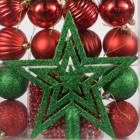 26-Piece Deluxe Variety Christmas Tree Baubles with Topper and Beads, Red/ Green
