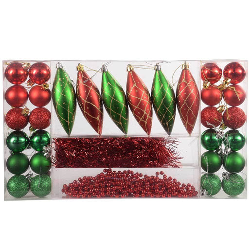 32-Piece Deluxe Variety Christmas Tree Baubles with Tinsel and Beads, Red/ Green