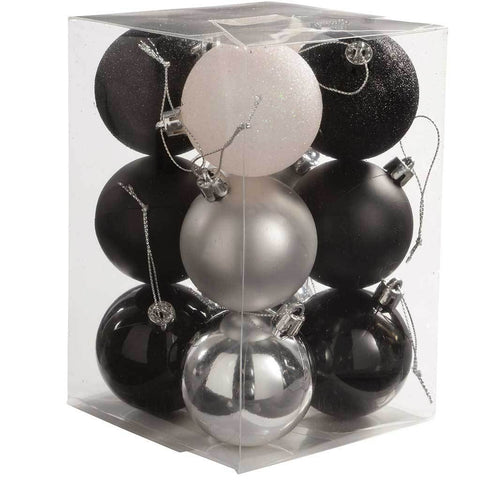 12-Piece Variety Christmas Tree Baubles Decoration Pack, Black/ Silver