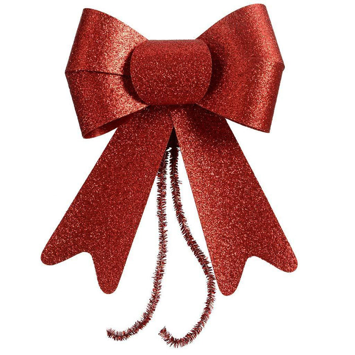 Christmas Decoration Glitter Bows, 15 cm - Red, Set of 2