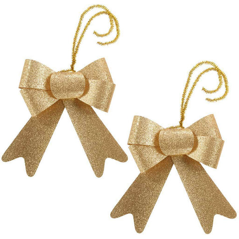 Christmas Decoration Glitter Bows, 15 cm - Gold, Set of 2
