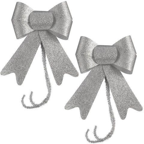 15 cm Christmas Decoration Glitter Bows, Set of 2, Silver