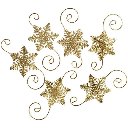 Large Snowflake Bauble Hooks Christmas Tree Decoration, Pack of 6, Gold
