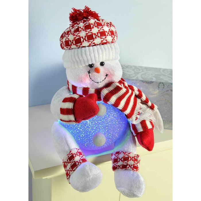 Pre-Lit Novelty Sitting Snowman with LED Light Up Body and Legs Christmas Decoration, 19 cm