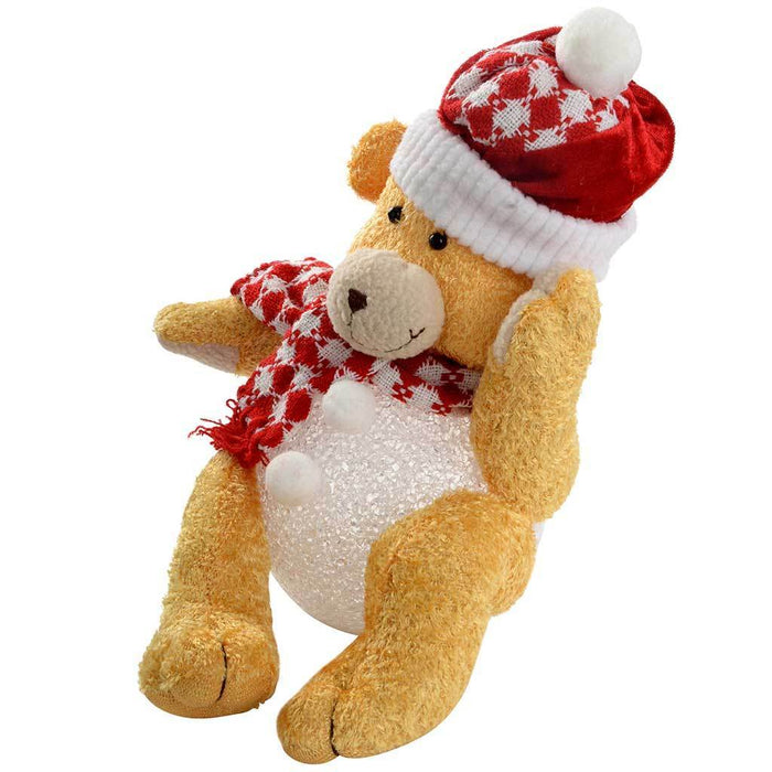 Pre-Lit Novelty Sitting Teddy Bear with LED Light Up Body and Legs Christmas Decoration, 23 cm