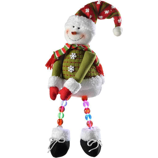 Pre-Lit Novelty Sitting Snowman with LED Light Up Body and Legs Christmas Decoration, 50 cm