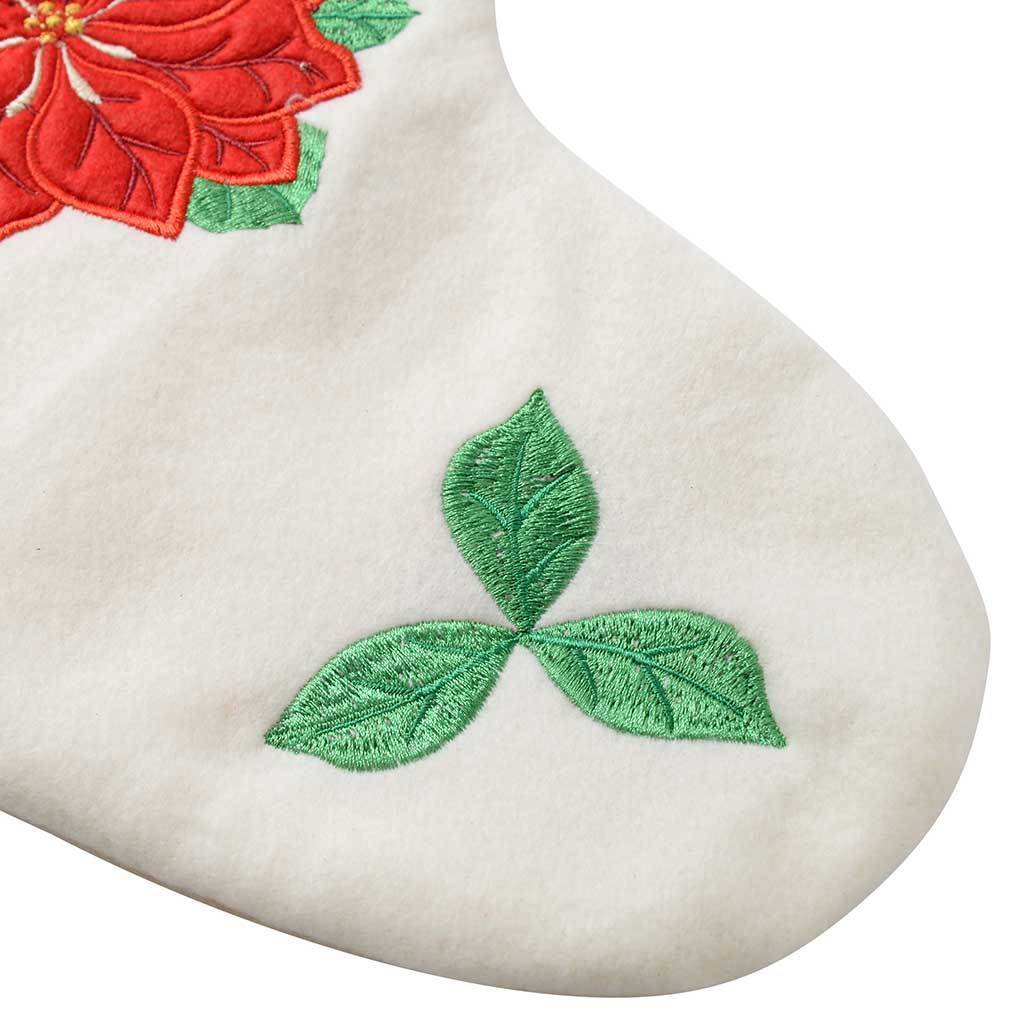 48 cm Christmas Stocking with a Poinsettia Flower Finished Decoration, Red/ White