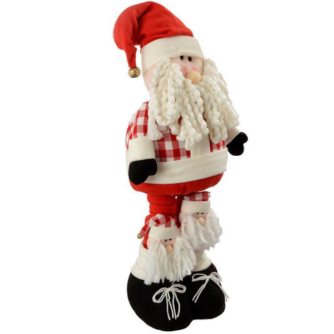 50 - 100 cm Large Standing Father Christmas with Extendable Legs, Red/ White Tartan