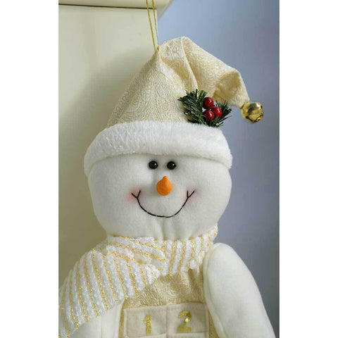 Snowman Advent Calendar Christmas Decoration, 66 cm - Large, Cream/Gold
