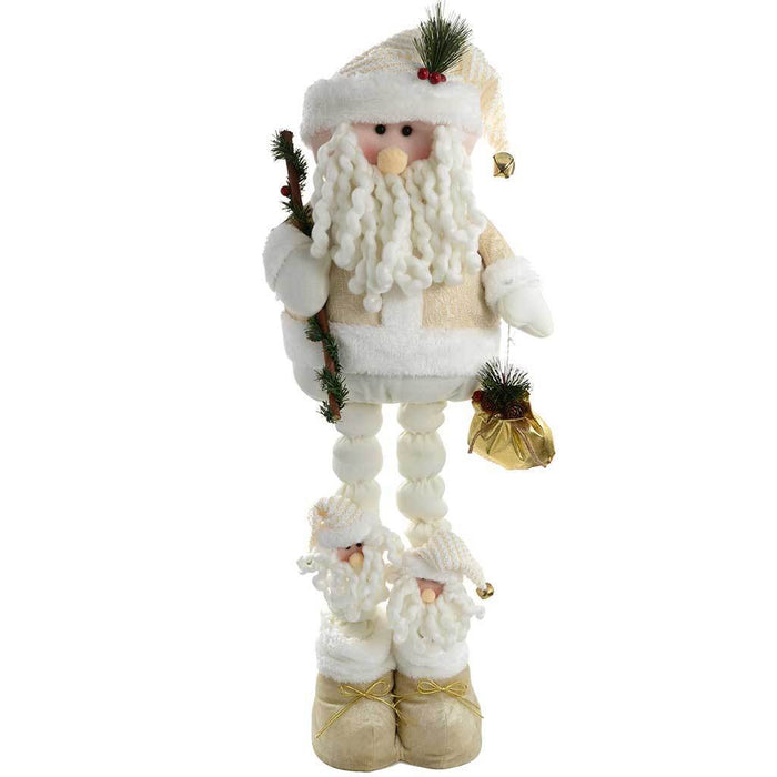 50 - 100 cm Large Free Standing Father Christmas with Extendable Legs, Cream/ Gold