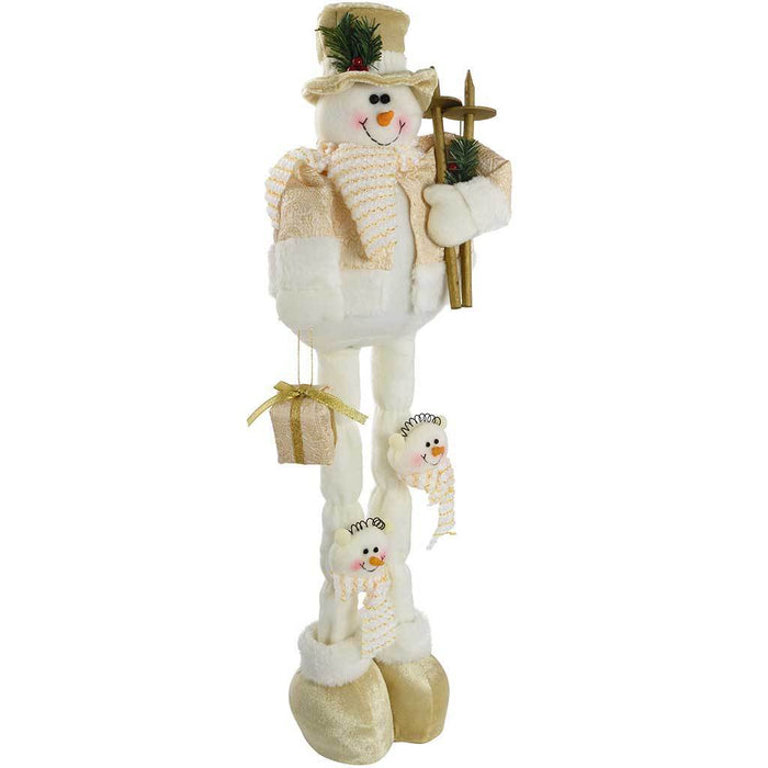35 - 60 cm Free Standing Christmas Snowman with Extendable Legs, Cream/ Gold