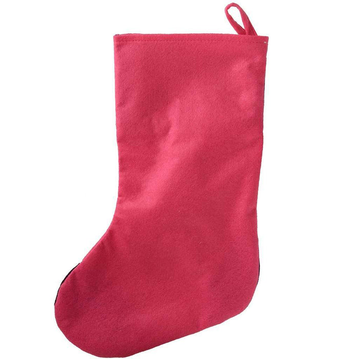Christmas Stocking with 3D Snowman Head, 48 cm - Hot Pink/Purple